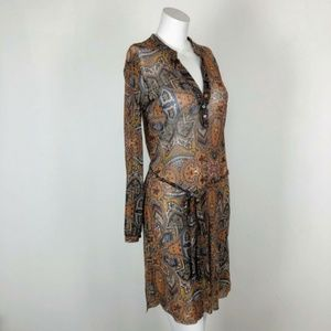 Weston Wear Mesh Brown Floral Shirt Dress Button